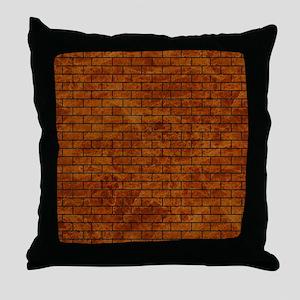 BRICK1 BLACK MARBLE & BROWN MARBLE (R Throw Pillow