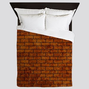 BRICK1 BLACK MARBLE & BROWN MARBLE (R) Queen Duvet