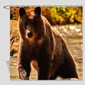 Bear On Log Shower Curtain
