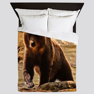 Bear On Log Queen Duvet
