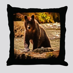 Bear On Log Throw Pillow