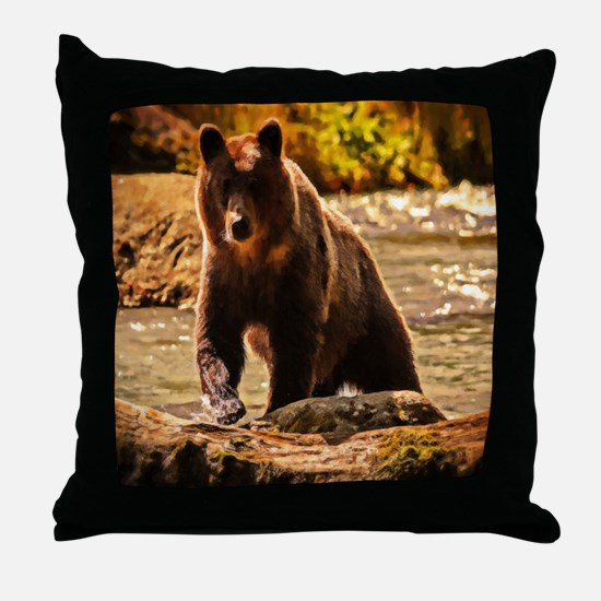 Bear On Log Throw Pillow