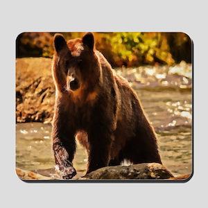 Bear On Log Mousepad