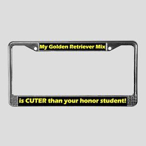 Honor Student Golden Rtvr Mix License Plate Frame