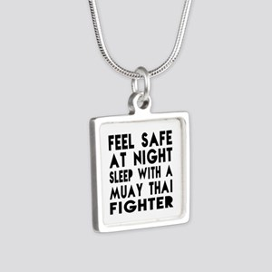 Feel Safe With Muay Thai F Silver Square Necklace