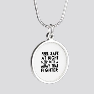 Feel Safe With Muay Thai Fig Silver Round Necklace