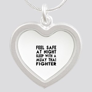 Feel Safe With Muay Thai Fig Silver Heart Necklace