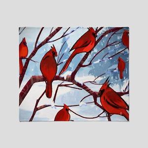 Cardinals Winter Landscape Throw Blanket