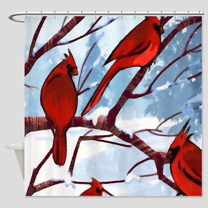Cardinals Winter Landscape Shower Curtain