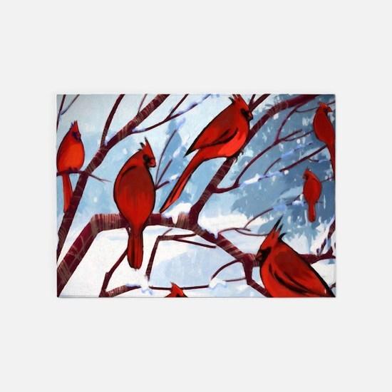 Cardinals Winter Landscape 5'x7'Area Rug