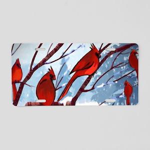 Cardinals Winter Landscape Aluminum License Plate