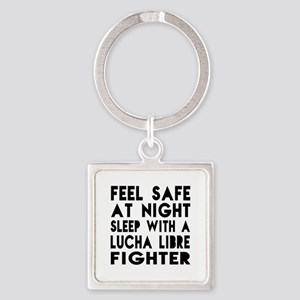 Feel Safe With Lucha Libre Fighter Square Keychain