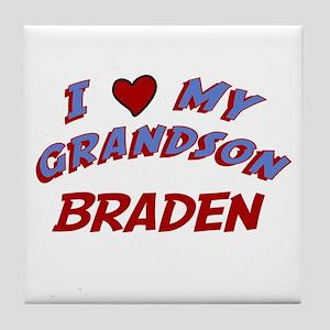 I Love My Grandson Braden Tile Coaster