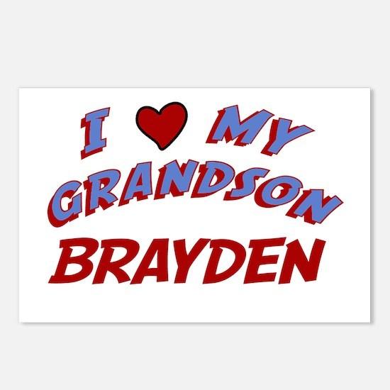 I Love My Grandson Brayden Postcards (Package of 8