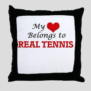 My heart belongs to Real Tennis Throw Pillow