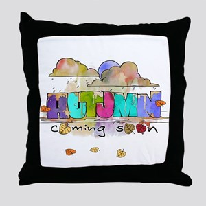Autumn coming soon illustration Throw Pillow