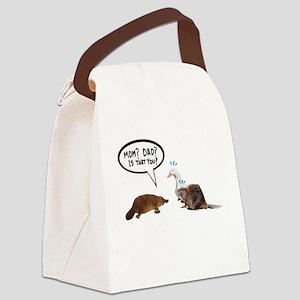 platypus awkward encounter Canvas Lunch Bag