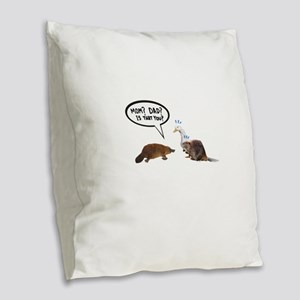 platypus awkward encounter Burlap Throw Pillow