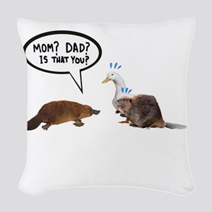 platypus awkward encounter Woven Throw Pillow