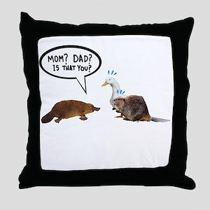 platypus awkward encounter Throw Pillow