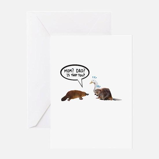 platypus awkward encounter Greeting Cards