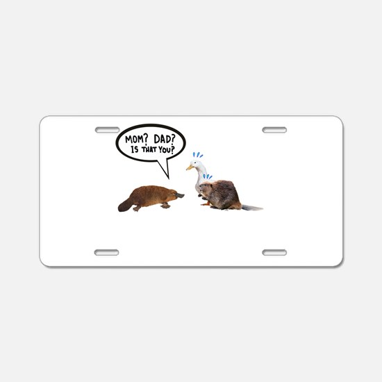 platypus awkward encounter Aluminum License Plate