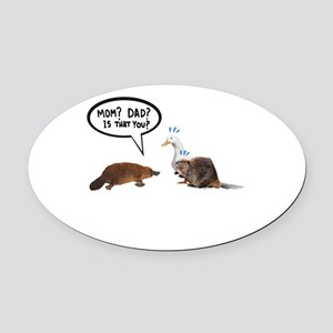 platypus awkward encounter Oval Car Magnet