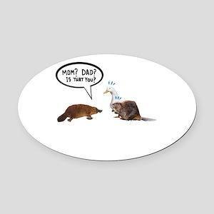 platypus awkward encounter Oval Car Magnet