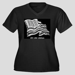 Barcode Flag - God Less Ameri Women's Plus Size V-