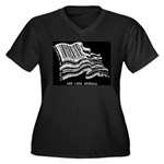 Barcode Flag - God Less Ameri Women's Plus Size V-