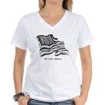 Barcode Flag - God Less Ameri Women's V-Neck T-Shi