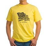 Barcode Flag - God Less Ameri Yellow T-Shirt