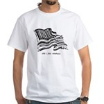 Barcode Flag - God Less Ameri White T-Shirt