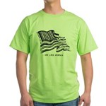 Barcode Flag - God Less Ameri Green T-Shirt