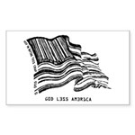 Barcode Flag - God Less Ameri Sticker (Rectangular