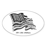 Barcode Flag - God Less Ameri Oval Sticker