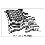 Barcode Flag - God Less Ameri Large Poster