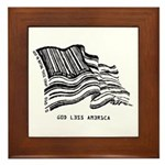 Barcode Flag - God Less Ameri Framed Tile