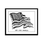 Barcode Flag - God Less Ameri Framed Panel Print