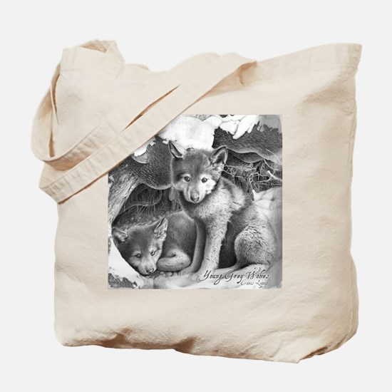 Young Gray Wolves Tote Bag