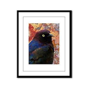 Black Bird texture Framed Panel Print