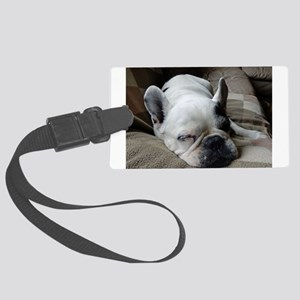 Pied French Bulldog Large Luggage Tag