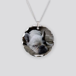 Pied French Bulldog Necklace Circle Charm