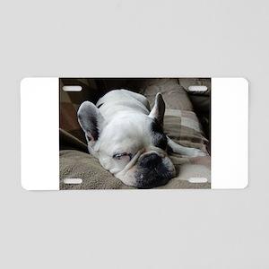 Pied French Bulldog Aluminum License Plate