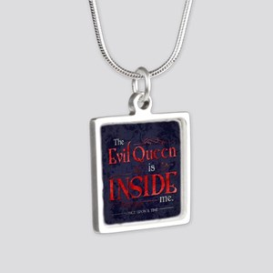 The Evil Queen is Inside M Silver Square Necklace