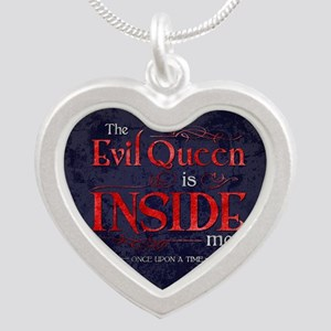 The Evil Queen is Inside Me Silver Heart Necklace