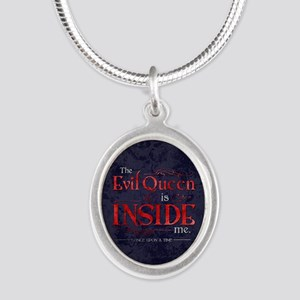 The Evil Queen is Inside Me Silver Oval Necklace