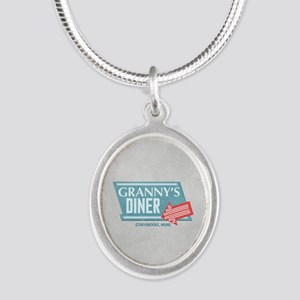 Granny's Diner Silver Oval Necklace