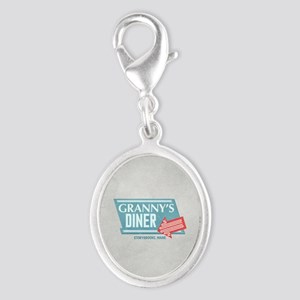 Granny's Diner Silver Oval Charm