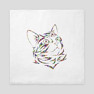 Prismatic Rainbow Cat Outline Queen Duvet